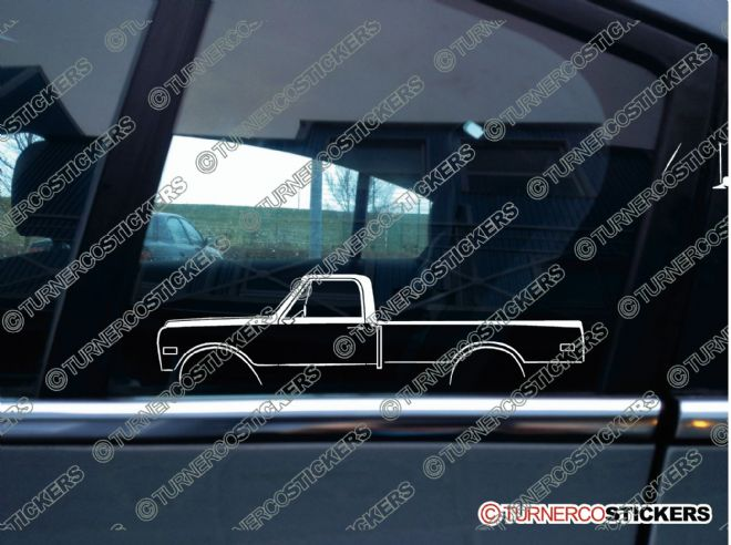 2x Car Silhouette sticker -  Chevrolet C10 long bed 1967-1972 classic truck